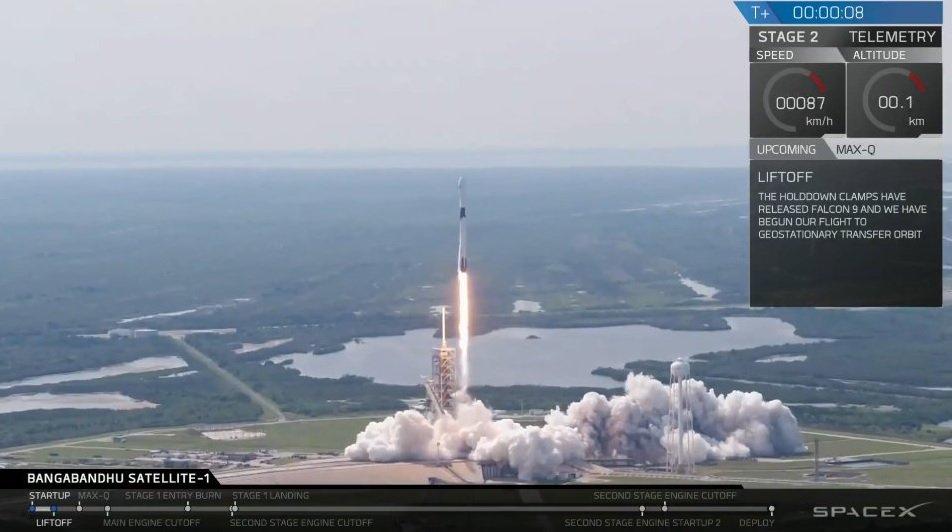 Фото - Ракета-носитель Falcon 9 Block 5 успешно вывела на орбиту спутник связи Бангладеш