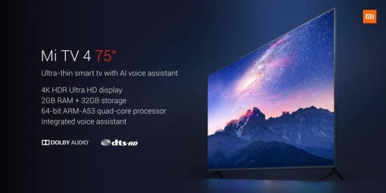 Фото - Xiaomi Mi TV 4 75″: смарт-ТВ с экраном 4К HDR за $1405″