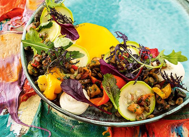 Фото - Постный ужин: салат из зеленой чечевицы с муссом из артишоков