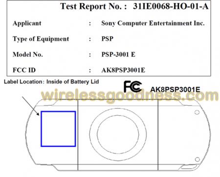Фото - Sony PSP 3001 E проходит сертификацию FCC